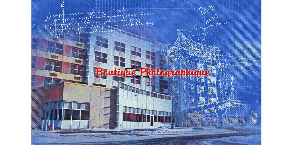 Effet Blueprint sur un batiment industriel