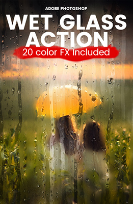 Wet Glass Photoshop Effect with 20 Colors Included