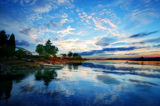 Couché de soleil au Saguenay - photo stock
