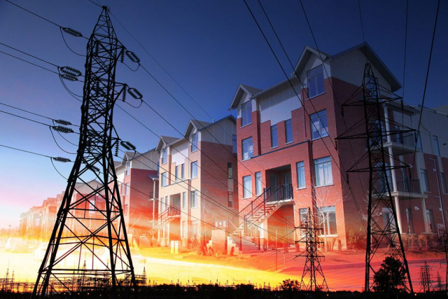 Montage Photo Concept Energie Residentielle - photo stock