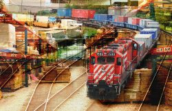 Montage Photo Transport de Marchandise par Train