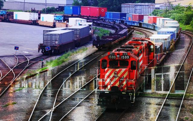 Montage Photo Transport par Train Industriel 01 - photo stock