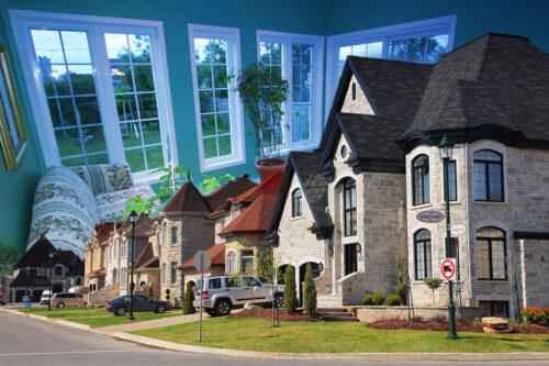 Montage Photo de Quartier Residentiel
