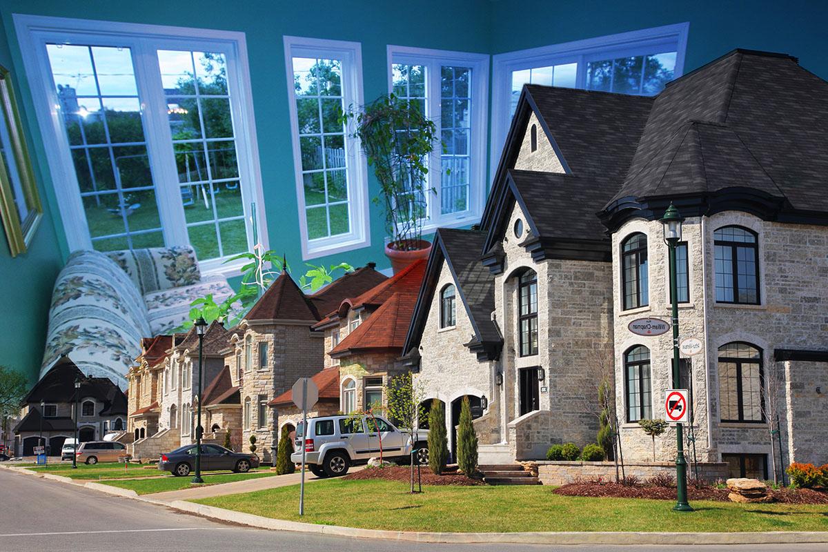 Montage Photo de Quartier Residentiel - photo stock