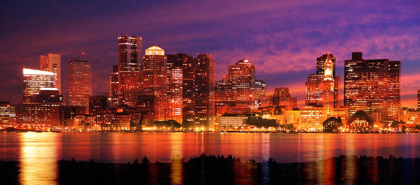 Montage Panoramique Nocturne de Boston 2 - photo stock