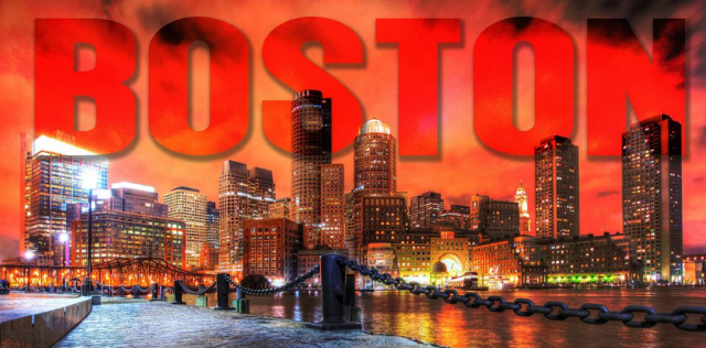 Boston avec Texte - photo stock