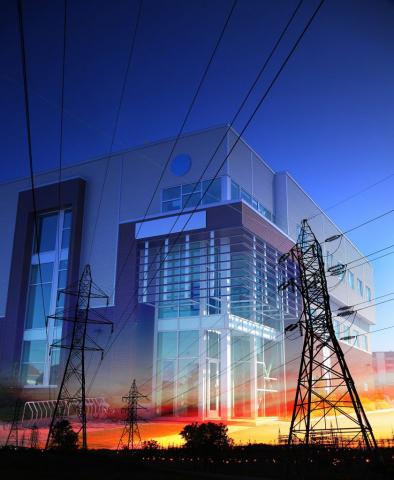 Business avec Silhouettes de Pylones Electriques - photo stock