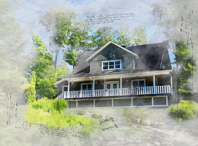 Image sketch de grande maison rurale - photo stock