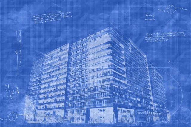 Blueprint de projet de construction de Condominium - photo stock