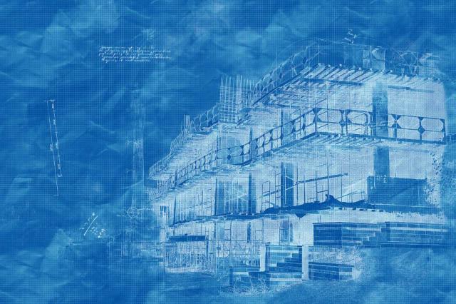 Image Sketch blueprint de projet de construction - photo stock