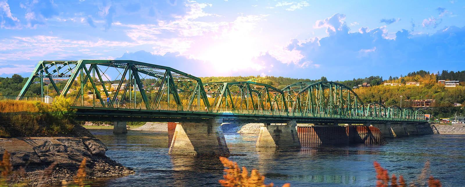 Image du vieux pont de Chicoutimi - photo stock