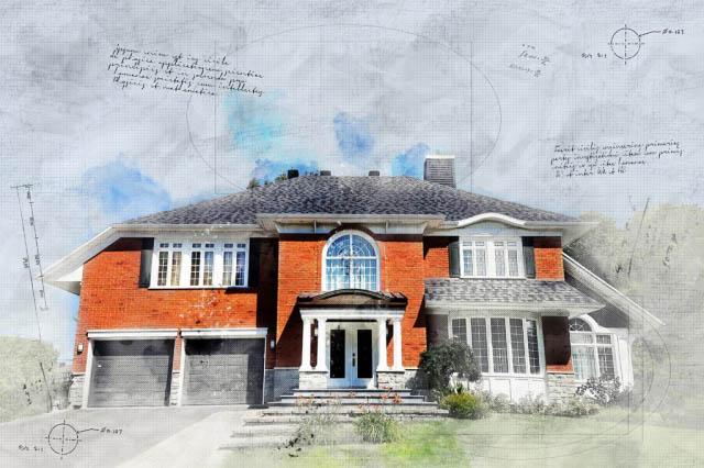 Image sketch de maison en brique luxueuse - photo stock