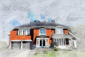 Image sketch de maison en brique luxueuse