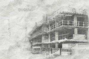 Image sketch de projet de construction en noir et blanc