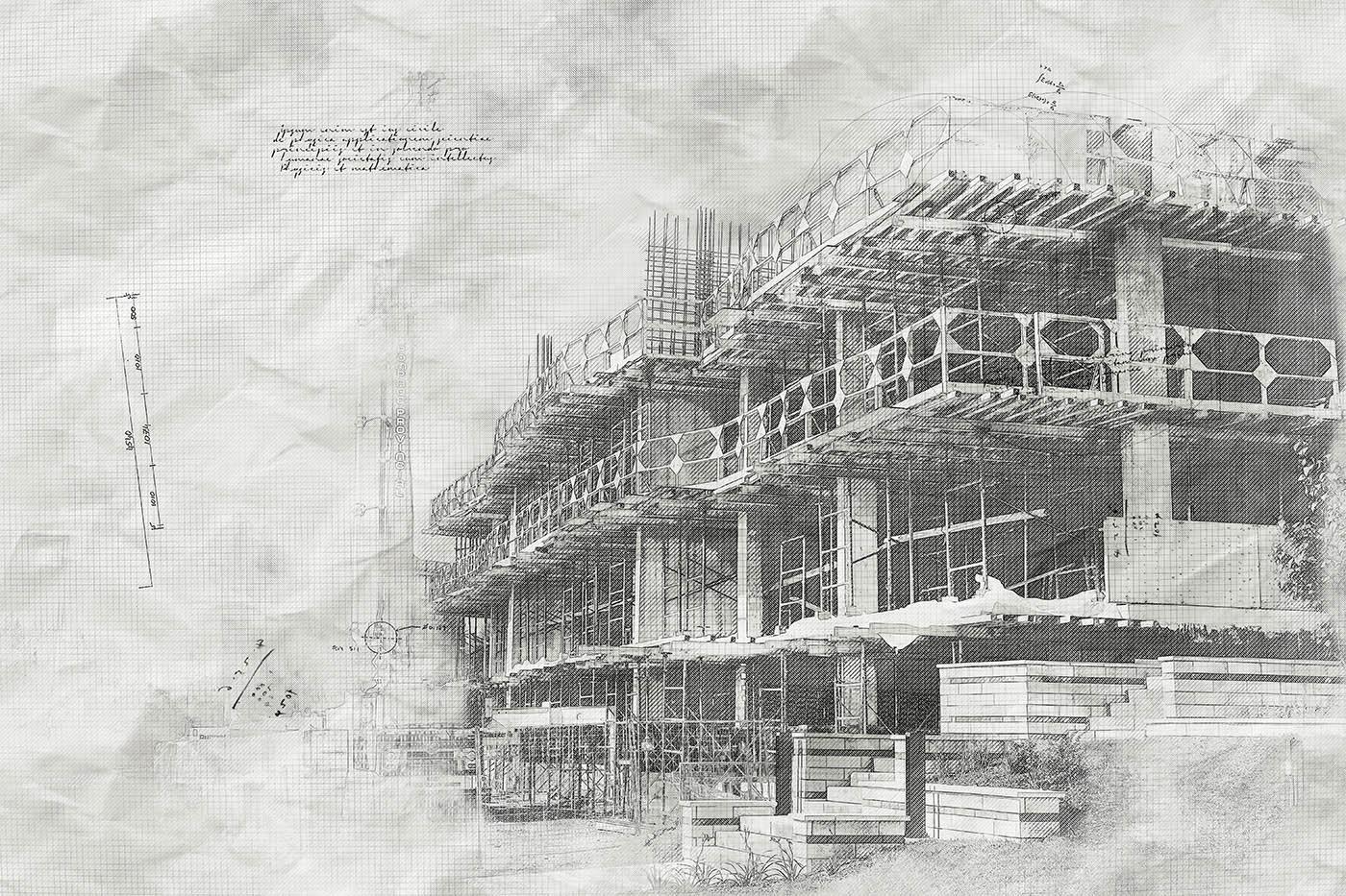 Image sketch de projet de construction en noir et blanc - photo stock