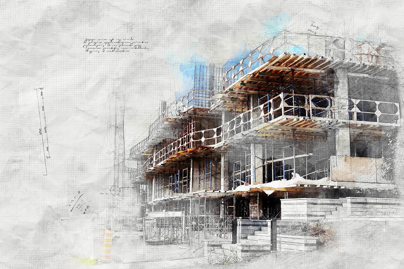 Image sketch de projet de construction - photo stock