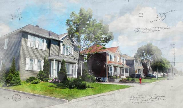 Image sketch de quartier résidentiel - photo stock