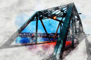 Image sketch du vieux pont de Chicoutimi