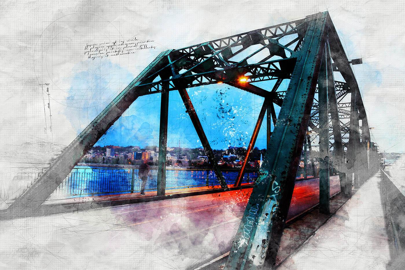 Image sketch du vieux pont de Chicoutimi - photo stock
