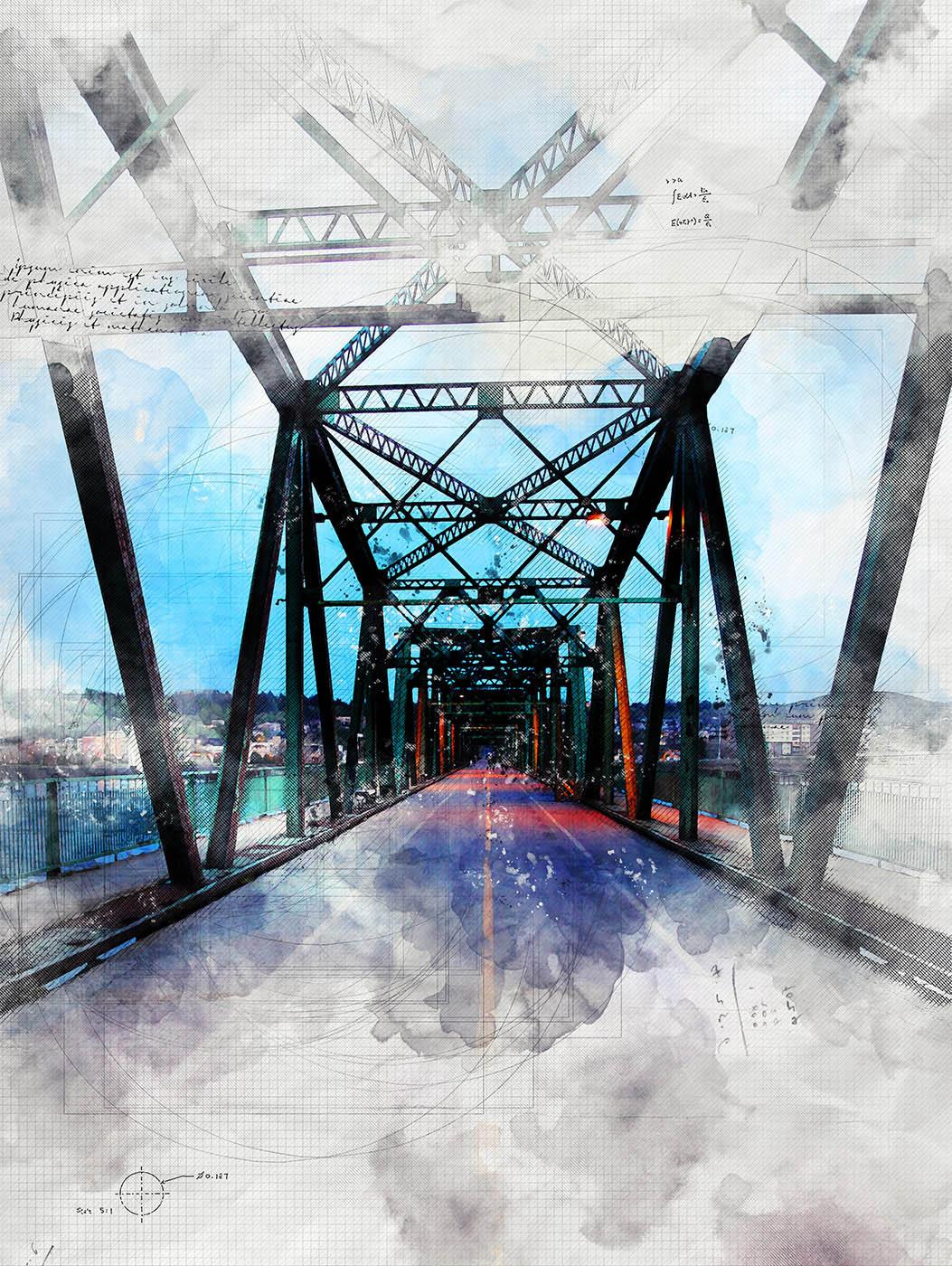 Image sketch du vieux pont de Saguenay - photo stock