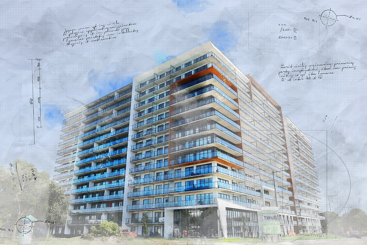 Large Condominium en format sketch - photo stock