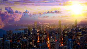 Coucher de soleil sur la ville de Chicago 01