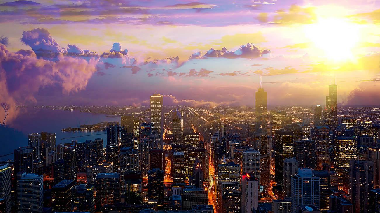 Coucher de soleil sur la ville de Chicago 01 - photo stock