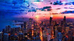 Coucher de soleil sur la ville de Chicago 02