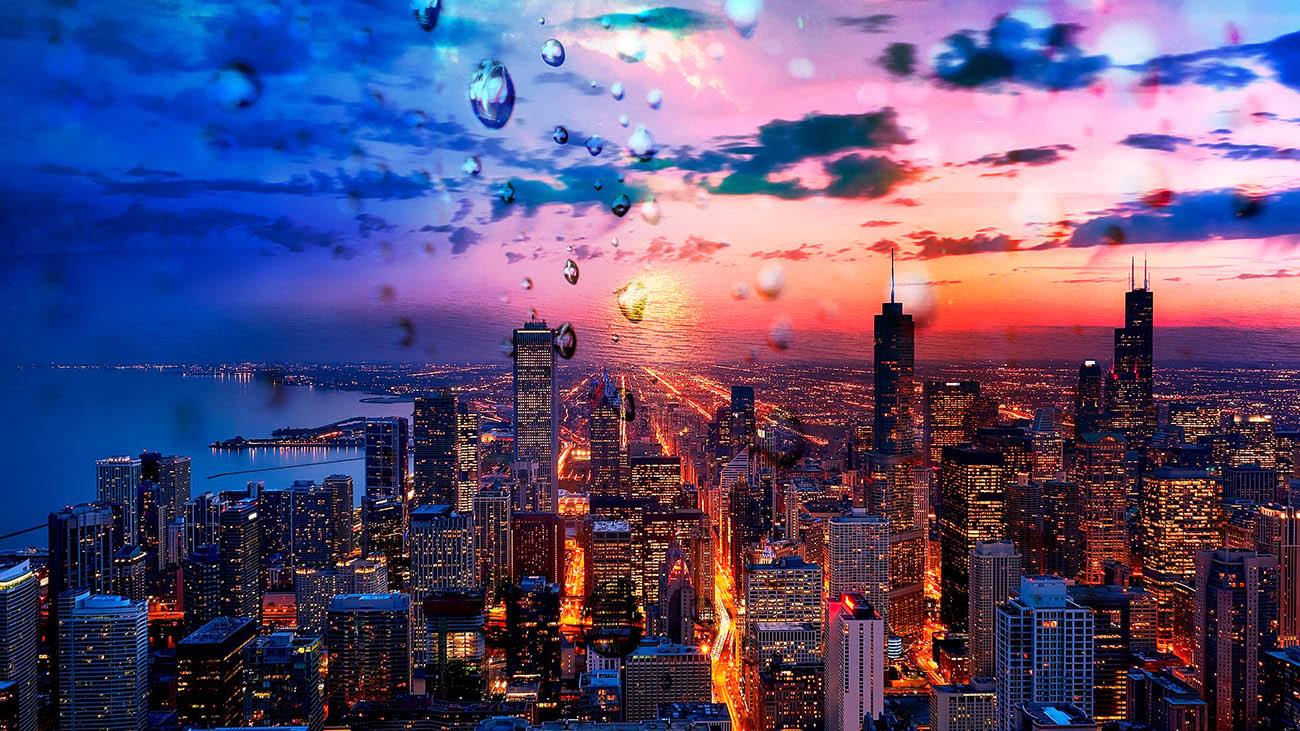 Coucher de soleil sur la ville de Chicago 02 - photo stock