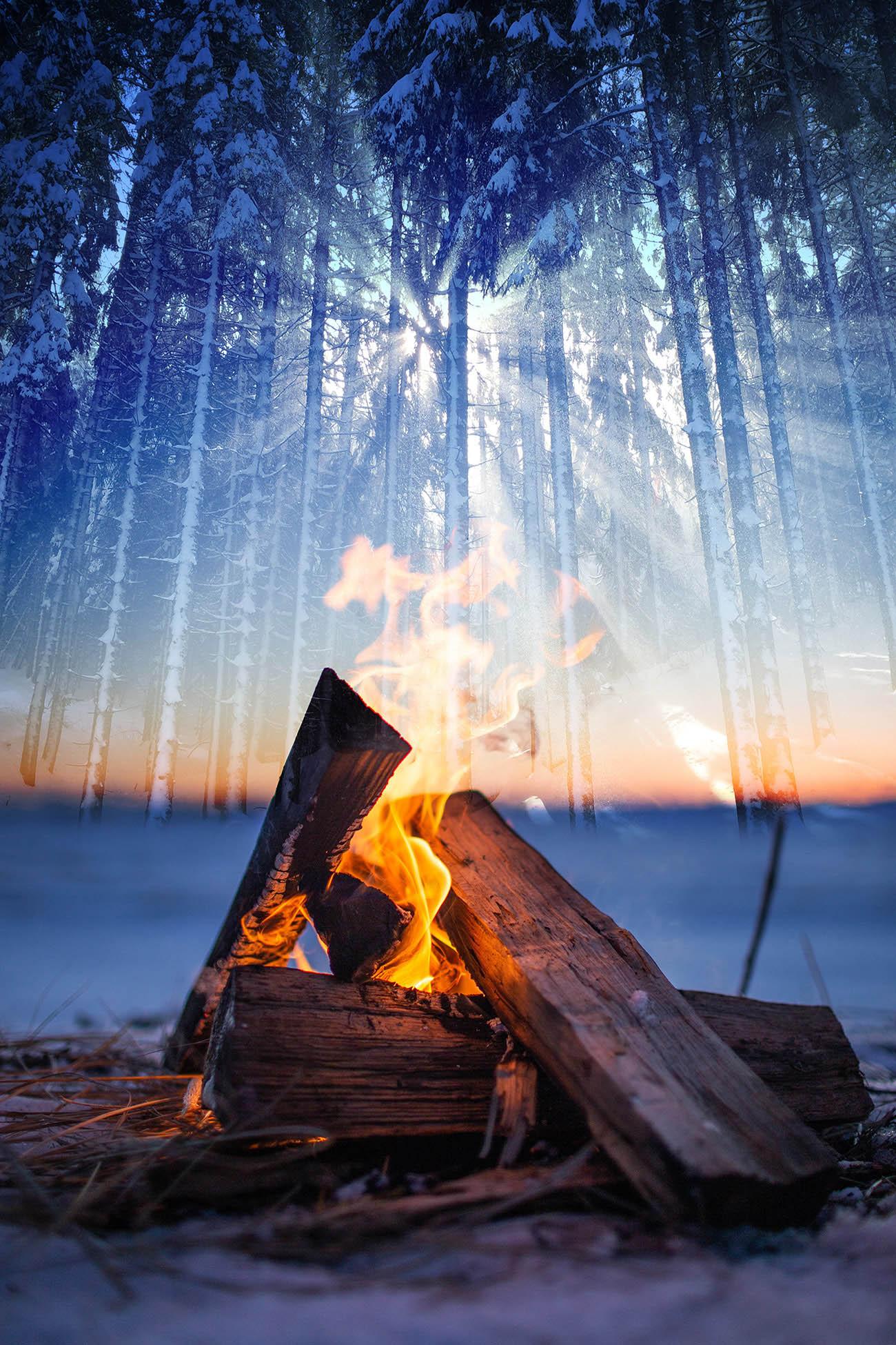 Feu de camp en hiver 01 - photo stock