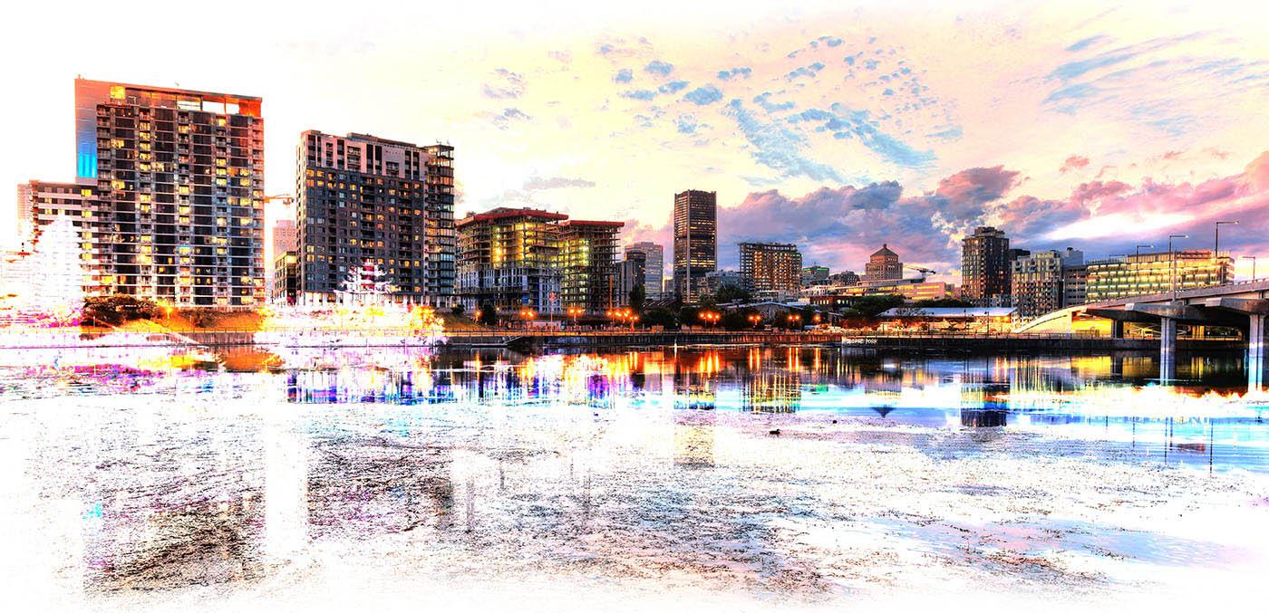 2020 Effets speciaux sur la ville de Montreal - photo stock