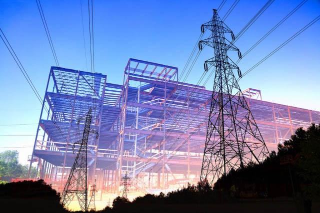électricité de bâtiment en construction 1 - photo stock