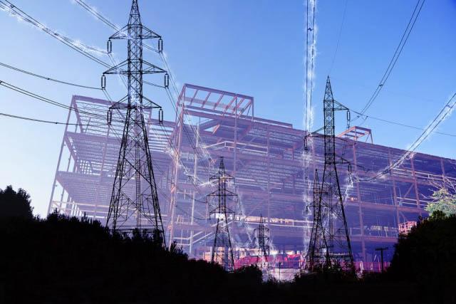 électricité de bâtiment en construction 2 - photo stock