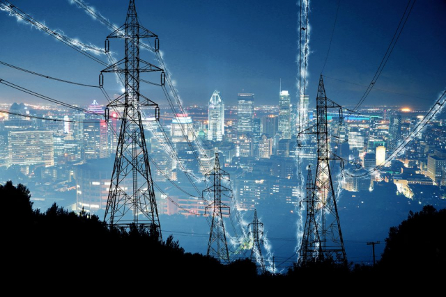électricité en zone urbaine 1 - photo stock