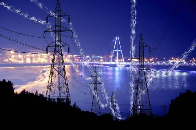 électricité en zone urbaine 2 - photo stock