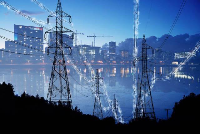 électricité en zone urbaine 4 - photo stock