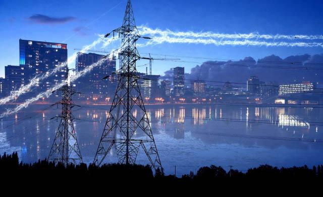 électricité en zone urbaine 5 - photo stock