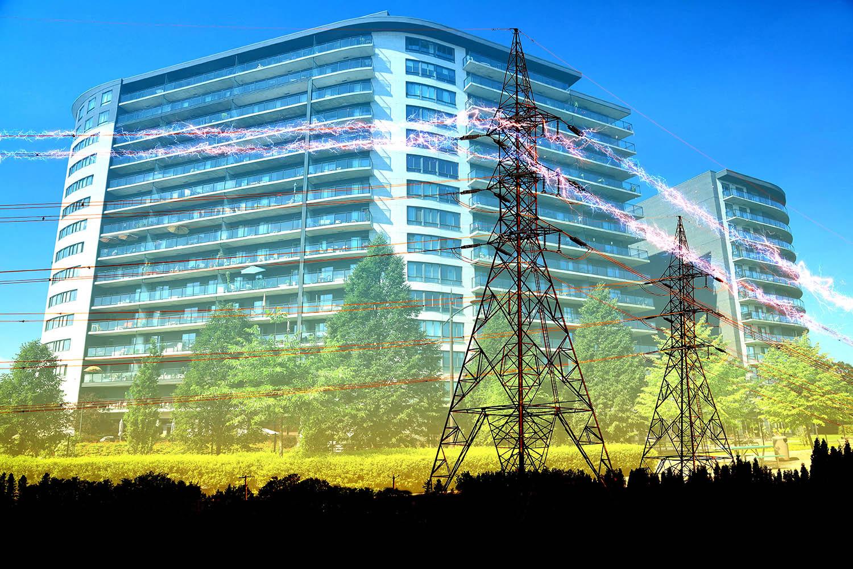 électrification rurale et urbaine 3 - photo stock