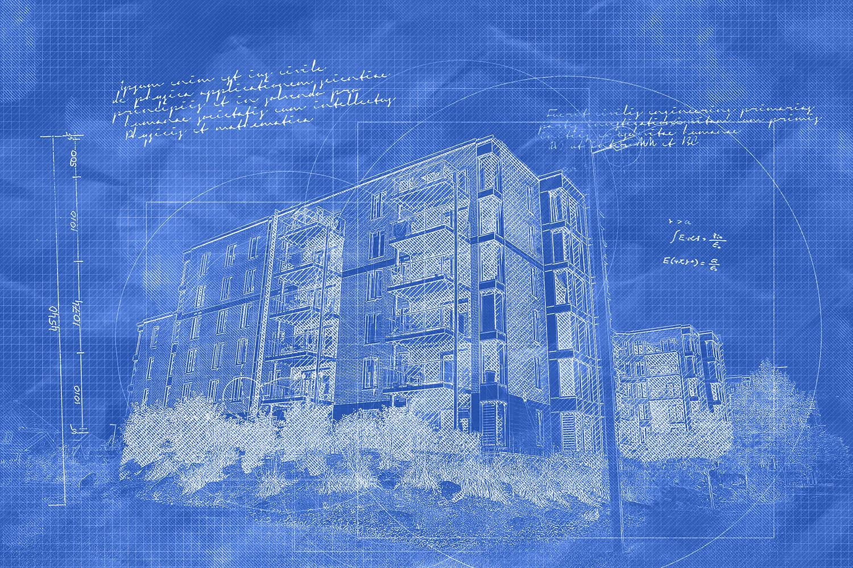 Effet Blueprint de batiment à condos