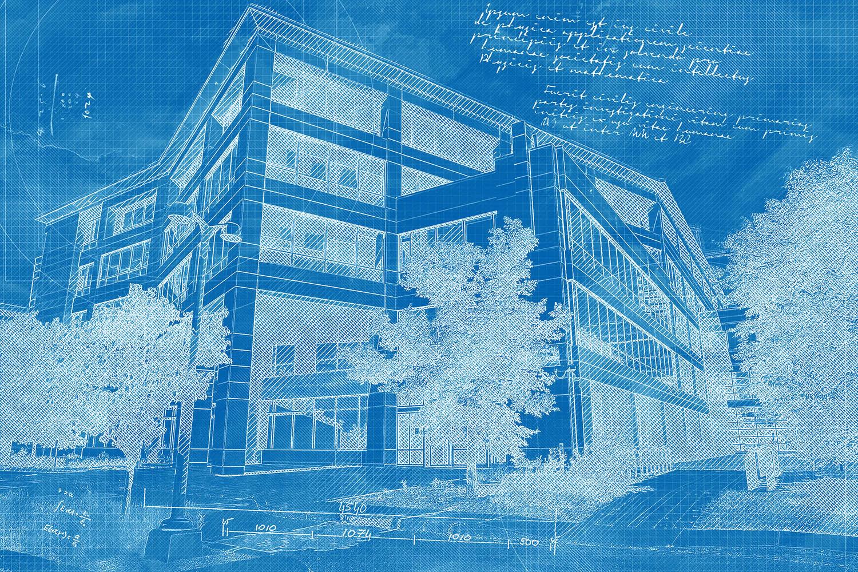 Effet Blueprint de batiment a bureaux commerciaux