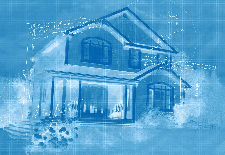 Effet Blueprint de petite maison unifamiliale