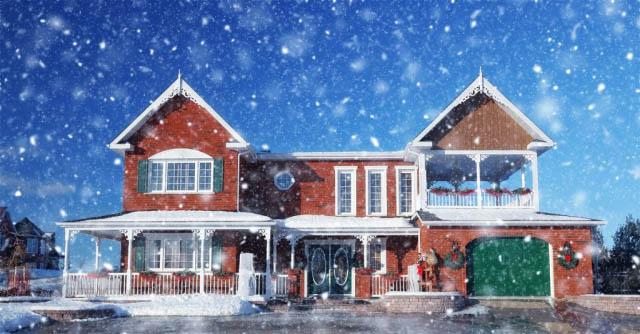 Maison de brique en hiver avec neige tombante