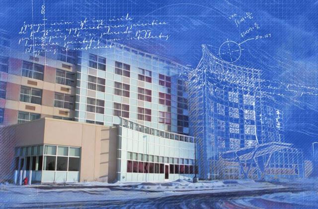 Effet Blueprint de batiment à bureaux
