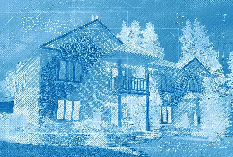 Effet Blueprint de grande maison unifamiliale
