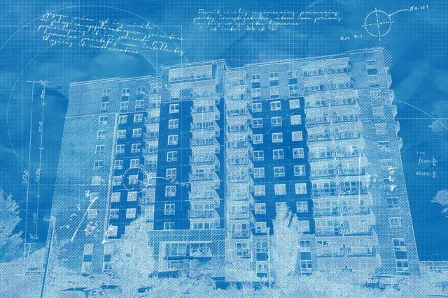 Effet Blueprint de grand batiment residentiel