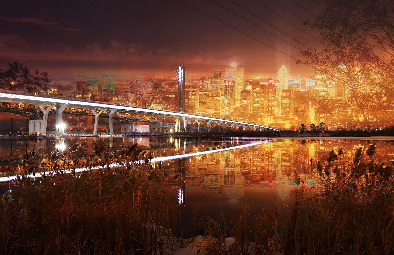 Pont Samuel de Champlain à Montreal de nuit